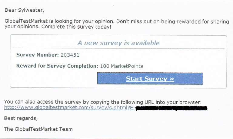 GlobalTestMarket Five Dollar Survey Invitation